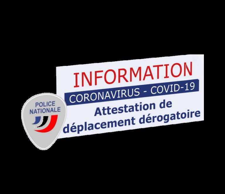 Covid-19 – 2ème Confinement – Interdiction de déplacements – Dérogations – JUSTIFICATIFS et ATTESTATIONS pour se déplacer